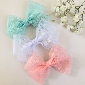 Other - Handmade! Set of 3pc. Lace Bow Headbands or Clips